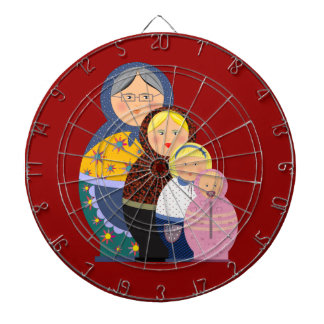 Russian Doll Matryoshka Life Stages Colorful Cute Dartboard