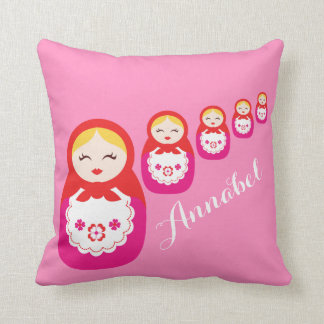 Russian dolls red pink custom name pillow throw cushion