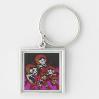 Russian Dolls Silver-Colored Square Key Ring