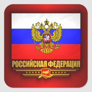 Russian Federation Flag & Emblem Square Sticker