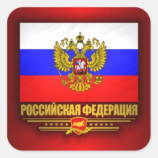 Russian Federation Flag & Emblem Square Stickers