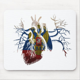 Russian Flag in Real heart Mouse Pad