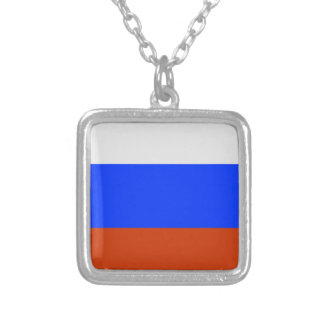 Russian Flag Square Pendant Necklace