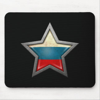 Russian Flag Star on Black Mousepad