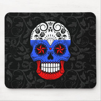 Russian Flag Sugar Skull with Roses Mouse Pads