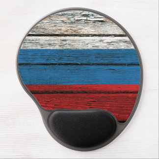 Russian Flag with Rough Wood Grain Effect Gel Mouse Mat
