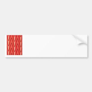 Russian French Folk Pattern, Red Zigzags Bumper Sticker