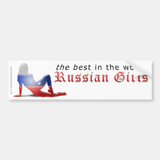 Russian Girl Silhouette Flag Bumper Sticker