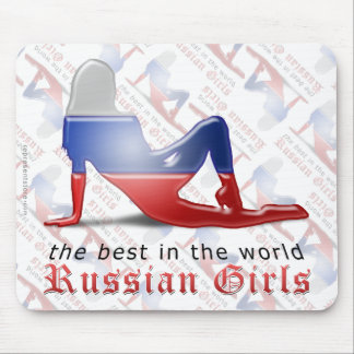 Russian Girl Silhouette Flag Mouse Pads