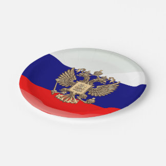 Russian glossy flag 7 inch paper plate