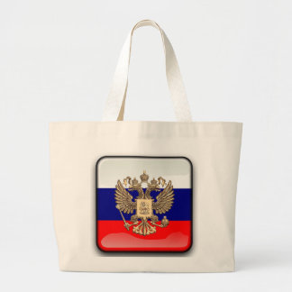 Russian glossy flag large tote bag