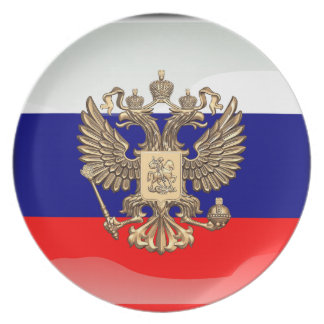 Russian glossy flag plate