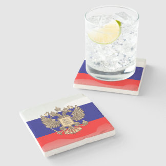 Russian glossy flag stone coaster