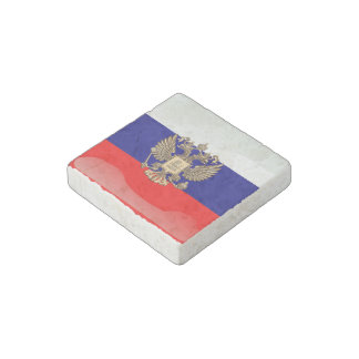 Russian glossy flag stone magnet