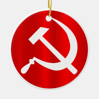 Russian Hammer and Sickle Round Ceramic Decoration