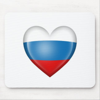Russian Heart Flag on White Mousepads
