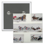 Russian Horse Drawn Sleighs 15 Cm Square Badge