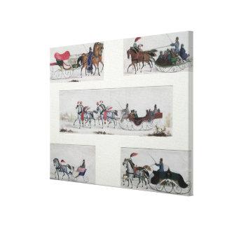 Russian Horse Drawn Sleighs Canvas Print
