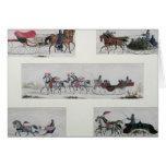 Russian Horse Drawn Sleighs Greeting Card