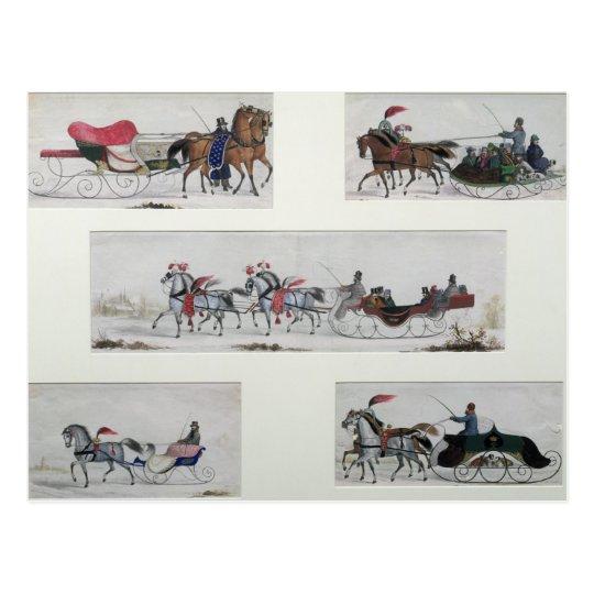 Russian Horse Drawn Sleighs Postcard