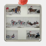 Russian Horse Drawn Sleighs Silver-Colored Square Decoration