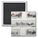 Russian Horse Drawn Sleighs Square Magnet
