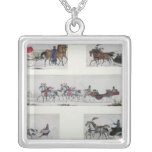 Russian Horse Drawn Sleighs Square Pendant Necklace