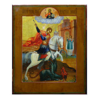 Russian Icon St George and the Dragon Poster