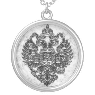 Russian Imperial Coat of Arms Silver Plated Necklace