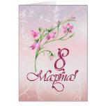Russian International women's day, pink flowers Greeting Card