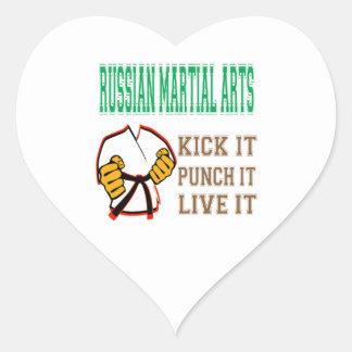 Russian Martial Arts Kick it, Punch it, Live it Heart Stickers