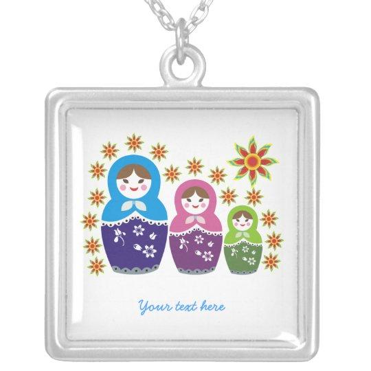 Russian Matryoshka Dolls custom silver pendant