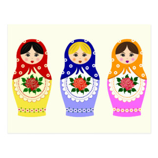 Russian matryoshka dolls postcard