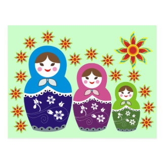 Russian Matryoshka Dolls Postcards