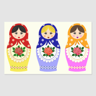 Russian matryoshka dolls rectangular sticker