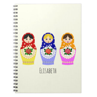 Russian matryoshka dolls spiral notebook