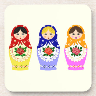 Russian matryoshka nesting dolls beverage coasters