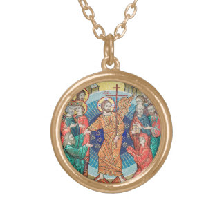 Russian mosaic icon gold plated necklace
