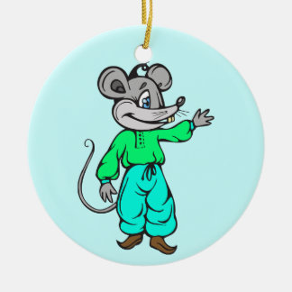 Russian Mouse Round Ceramic Decoration