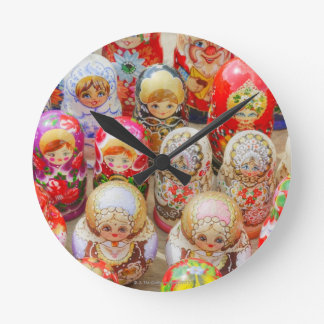 Russian Nested Dolls Round Clock
