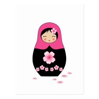 Russian nesting Doll Pink Matryoshka Babushka Postcard