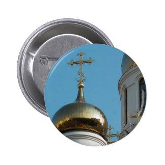 Russian orthodox church cupola 6 cm round badge