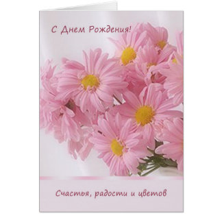 Russian pink Daisy Birthday Card