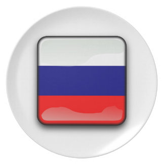 Russian polished flag dinner plate