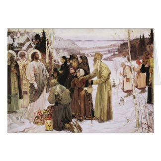 Russian Priests and Peasants Worship Jesus Greeting Card