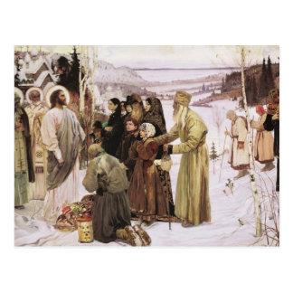 Russian Priests and Peasants Worship Jesus Postcard