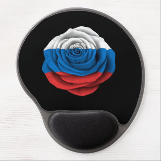 Russian Rose Flag on Black Gel Mouse Pads