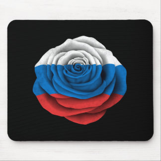 Russian Rose Flag on Black Mouse Pad
