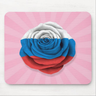 Russian Rose Flag on Pink Mouse Pads