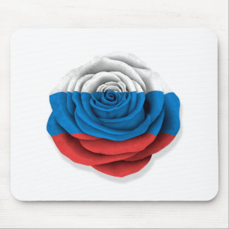Russian Rose Flag on White Mousepads
